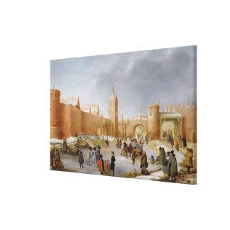 Skaters and Kolf Players Outside City of Kampen Canvas Print