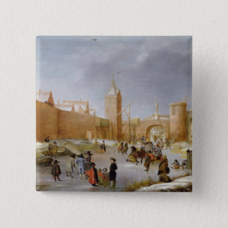 Skaters and Kolf Players Outside City of Kampen Pinback Button