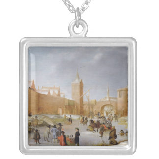 Skaters and Kolf Players Outside City of Kampen Silver Plated Necklace