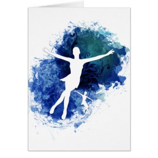 Skaters Blue Background Greeting Card