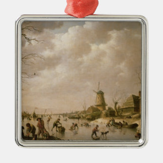 Skaters on a Frozen Canal, 1779 Metal Ornament