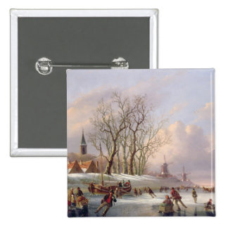 Skaters on a Frozen River before Windmills (oil on 2 Inch Square Button