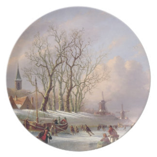 Skaters on a Frozen River before Windmills (oil on Dinner Plate