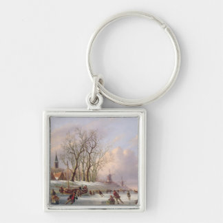 Skaters on a Frozen River before Windmills (oil on Keychain