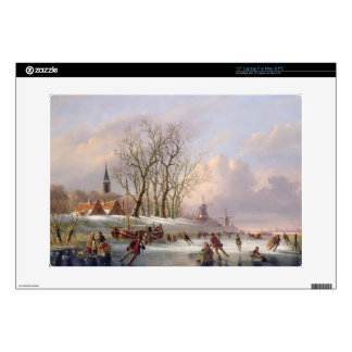 Skaters on a Frozen River before Windmills (oil on Laptop Decals