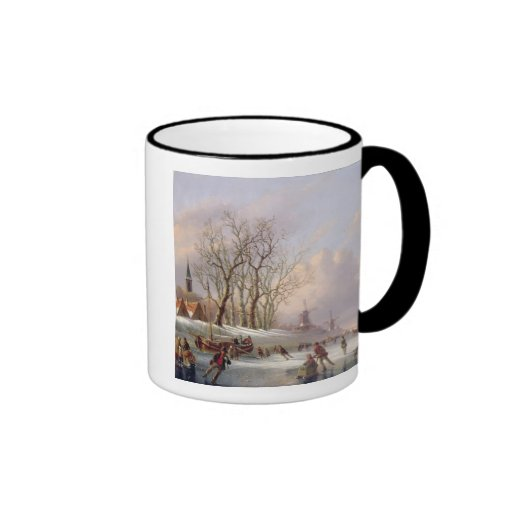Skaters on a Frozen River before Windmills (oil on Coffee Mug