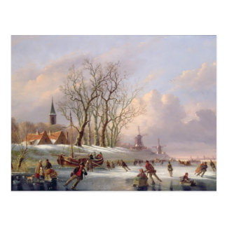 Skaters on a Frozen River before Windmills (oil on Postcard