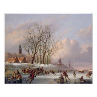 Skaters on a Frozen River before Windmills (oil on Poster
