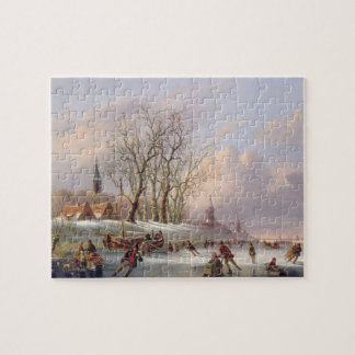 Skaters on a Frozen River before Windmills (oil on Puzzles