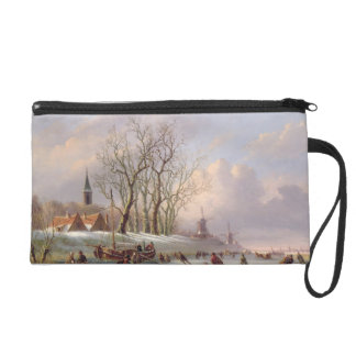 Skaters on a Frozen River before Windmills (oil on Wristlet Purse