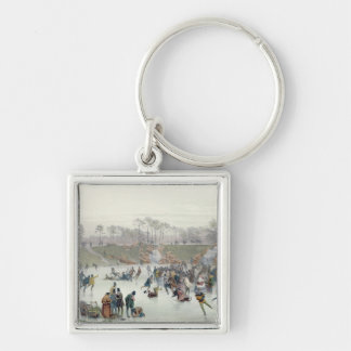 Skaters on the Lake at Bois de Boulogne Keychain