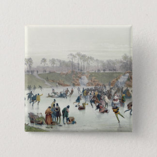 Skaters on the Lake at Bois de Boulogne Pinback Button