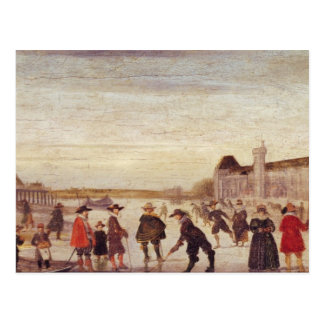 Skaters on the Seine in 1608 Postcard