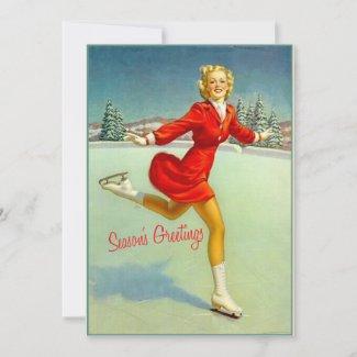Skaters Waltz Retro Christmas Card Custom Vintage