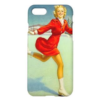 Skaters Waltz Retro Winter Scene Pinup Girl iPhone 7 Case