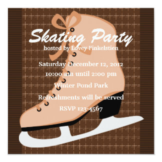 "Skates and Tweed 5.25"" Square Invitation Card"