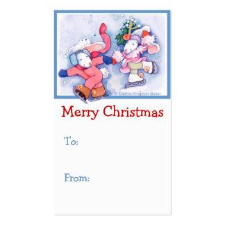 Skating Bunnies Christmas Business Card Templates