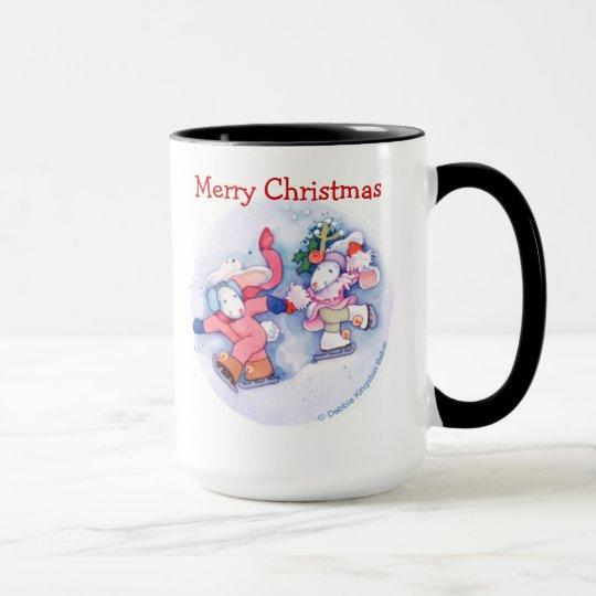 Skating Bunnies Christmas Mug