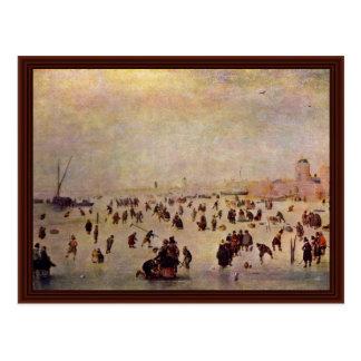 Skating By Avercamp Hendrik Postcard