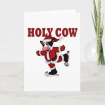 Skating Christmas Cow Holiday Card