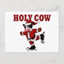 Skating Christmas Cow Holiday Postcard
