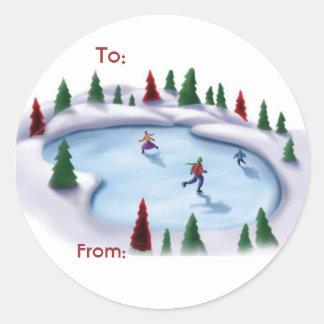 Skating Christmas Label Classic Round Sticker