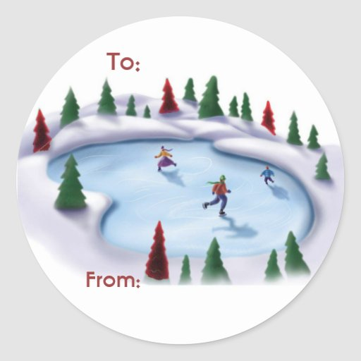 Skating Christmas Label Stickers