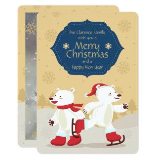 Skating Christmas Polar Bears Photo Card