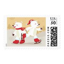 Skating Christmas Polar Bears Postage Stamp