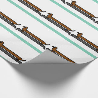 Skating dachshund gift wrapping paper