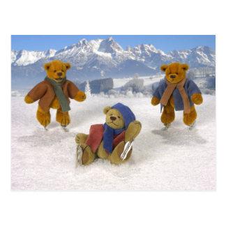 Skating Dinky Bears Postcards