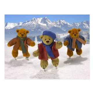 Skating Dinky Bears Postcard