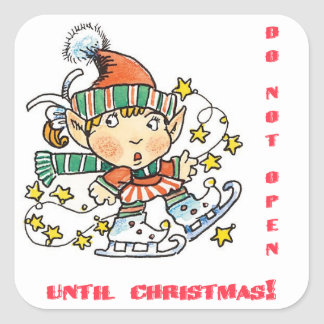 Skating Elf Do Not Open Until Christmas Sticker