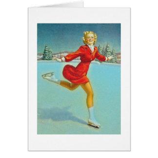 skating girl greeting card