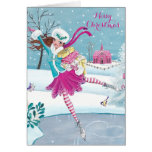 Skating Girl - Christmas Greetings Greeting card