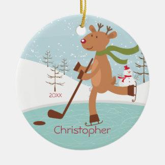 Skating Hockey Reindeer Dated Christmas Ornament