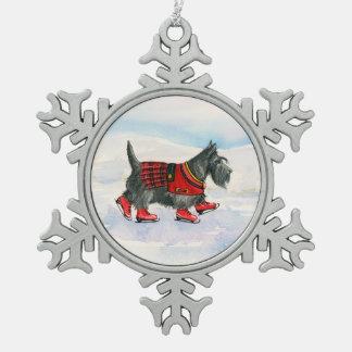 Skating Kilted Scottie Snowflake Pewter Christmas Ornament