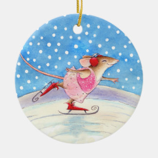 Skating Mouse Christmas or Winter ornament