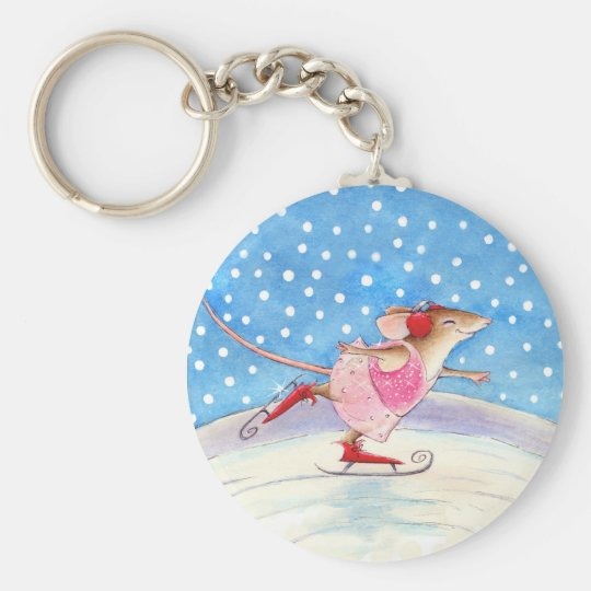 Skating mouse keychain