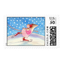 Skating Mouse postage stamp