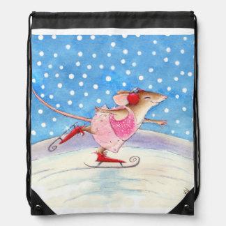 Skating Mouse winter sports Drawstring Bag