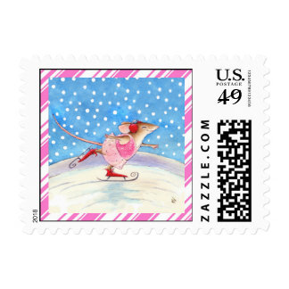 Skating mouse with pink candy cane border postage
