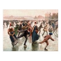 Skating on the Ice Vintage Illustration Postcard