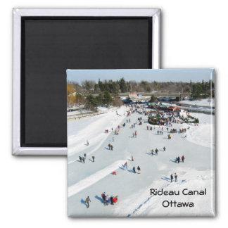 Skating on the Rideau Canal, Ottawa. Fridge Magnet