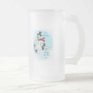 Skating on Thin Ice Frosted Glass Beer Mug