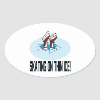 Skating On Thin Ice Oval Sticker