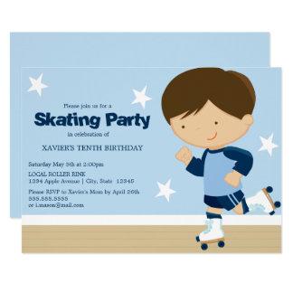 Skating Party | Brunette boy Card