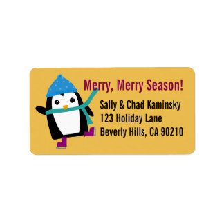 Skating Penguin Address Labels, Yellow Background