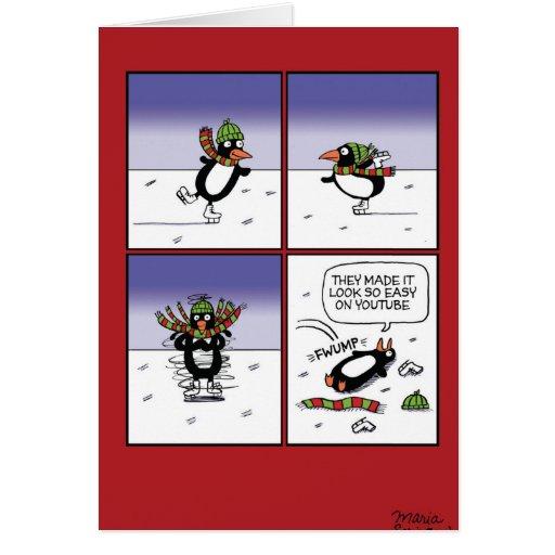 Skating penguin christmas funny card zazzle for Penguin christmas cards homemade