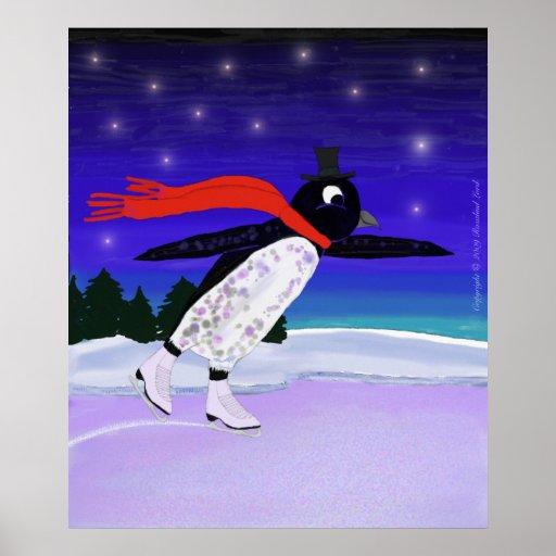 Skating Penguin Print